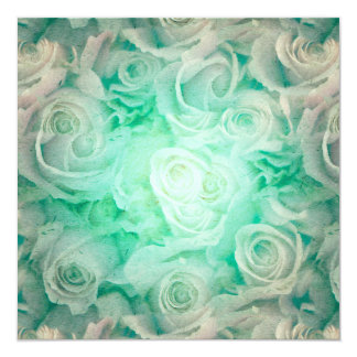 Wonderful roses pattern in soft green colors card