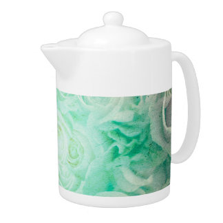 Wonderful roses pattern in soft green colors teapot
