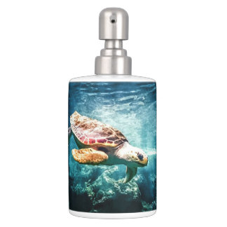 Wonderful Sea Turtle Underwater Life Soap Dispenser And Toothbrush Holder