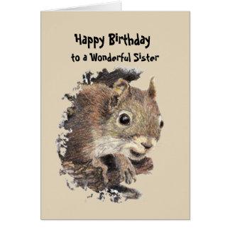 Wonderful Sister  Birthday Fun with Squirrel Card