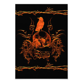 Wonderful skull with crow card