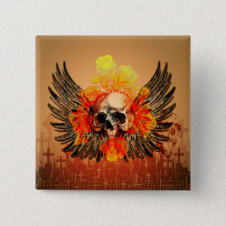 Wonderful skull with roses pinback button