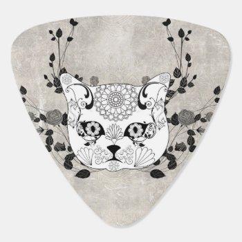 Wonderful Sugar Cat Skull Guitar Pick by stylishdesign1 at Zazzle