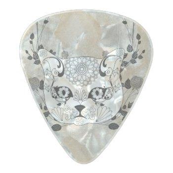 Wonderful Sugar Cat Skull Pearl Celluloid Guitar Pick by stylishdesign1 at Zazzle