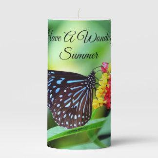 Wonderful Summer Butterfly Pillar Candle