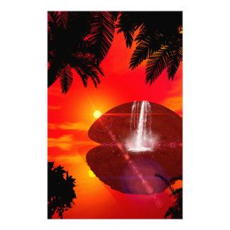 Wonderful sunset over the island stationery