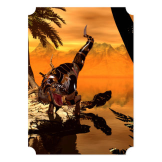 Wonderful T-rex with armor in the sunset Card
