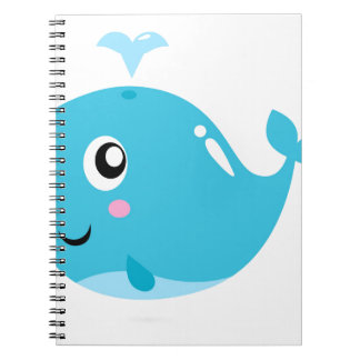 Wonderful t-shirts with Whale blue Notebook