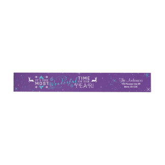 Wonderful Time Christmas Purple Return Address Wrap Around Label