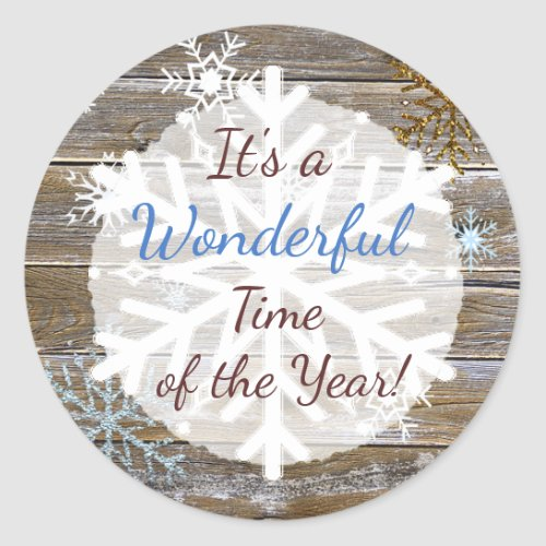 Wonderful Time of the Year Snowflakes Classic Round Sticker