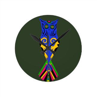WONDERFUL TRIBAL OWL DESIGN WALL CLOCK