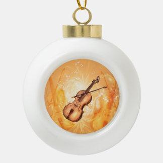 Wonderful violin ceramic ball christmas ornament