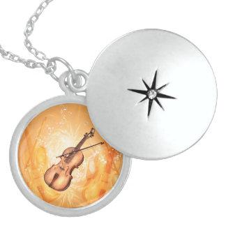 Wonderful violin sterling silver necklace
