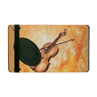 Wonderful violin with violin bow on red background iPad cover