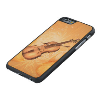 Wonderful violin with violin bow with key notes carved® maple iPhone 6 slim case