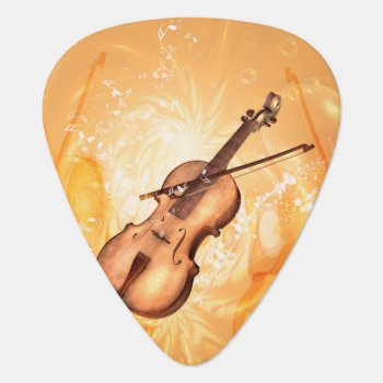 Wonderful Violin With Violin Bow With Key Notes Guitar Pick by stylishdesign1 at Zazzle