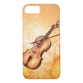 Wonderful violin with violin bow with key notes iPhone 7 case