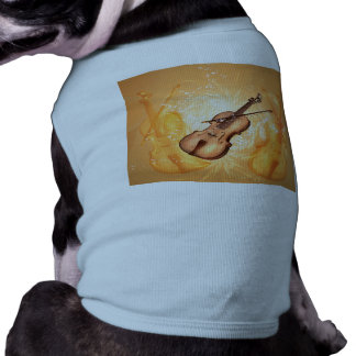 Wonderful violin with violin bow with key notes shirt