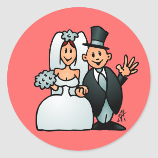 Wonderful Wedding Classic Round Sticker