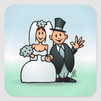 Wonderful Wedding Square Sticker