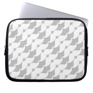 Wonderful White Mustaches on Gray Laptop Computer Sleeves
