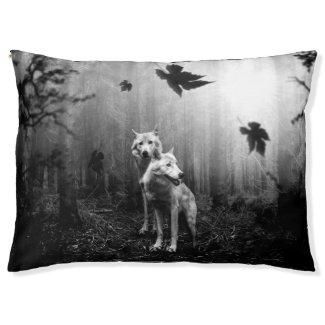 Wonderful Wolves Black and White Leaf Us Alone Pet Bed