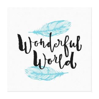 Wonderful World - Hand Lettering Typography Design Canvas Print