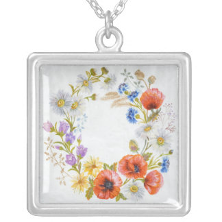 Wonderful Wreath Square Sterling Silver Necklace
