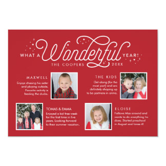 Wonderful Year in Review Family Newsletter Photo Card