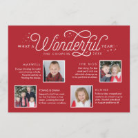 Wonderful Year in Review Family Newsletter Photo Holiday Card