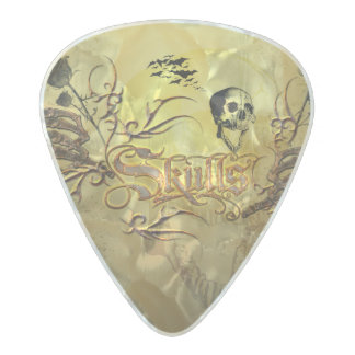 Wonderfull skull pearl celluloid guitar pick