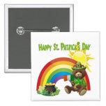 Wonderfully Cute Irish Bear with Flag Design #1 Pinback Button