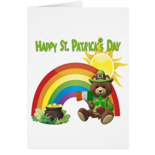 Wonderfully Cute Irish Bear with Flag Design #1 Card