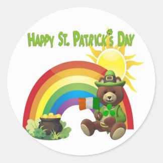 Wonderfully Cute Irish Bear with Flag Design #1 Round Sticker