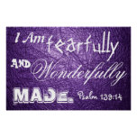 Wonderfully made bible verse Psalm 139:14 Poster