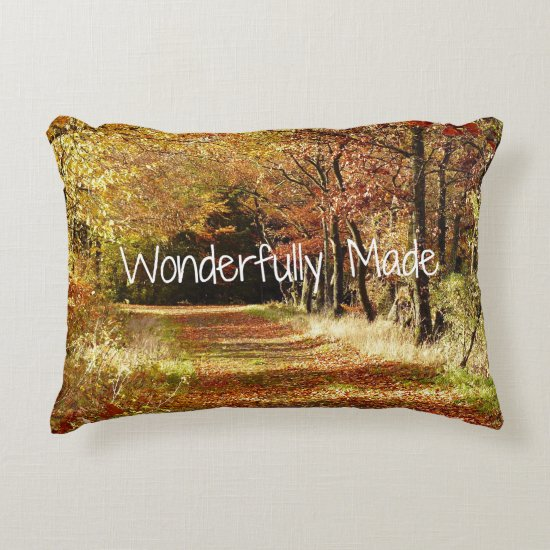 Wonderfully Made Bible Verse Quote Decorative Pillow