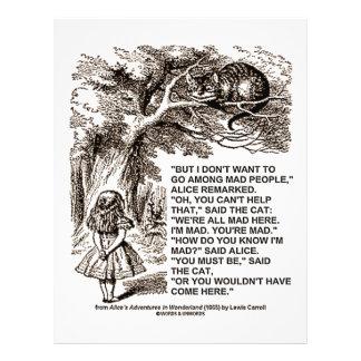"Wonderland Alice Go Among Mad People Quote 8.5"" X 11"" Flyer"