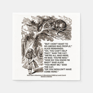 Wonderland Alice Go Among Mad People Quote Paper Napkin