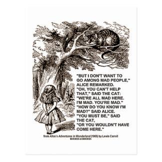 Wonderland Alice Go Among Mad People Quote Postcard