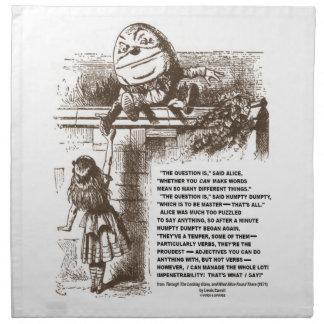 Wonderland Alice Humpty Dumpty Conversation Quote Napkin