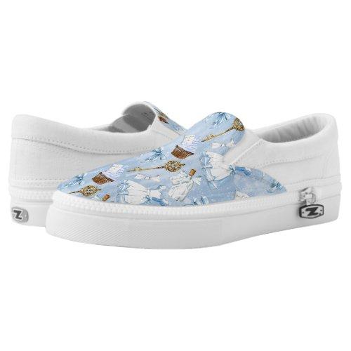 Wonderland Alice Pattern Slip-On Sneakers