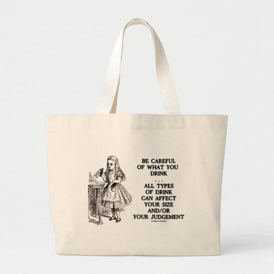 Wonderland Be Careful What You Drink (Alice) Large Tote Bag