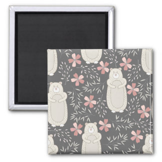 Wonderland Bears & Flowers Pattern 2 Inch Square Magnet