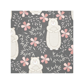 Wonderland Bears & Flowers Pattern Canvas Print