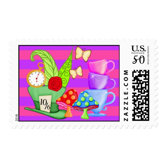 Wonderland Birthday Postage Stamps