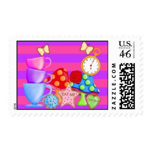 Wonderland Birthday Postage Stamps