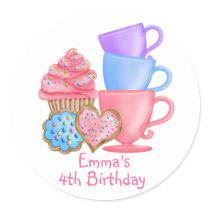 Wonderland  Birthday Tea Party Classic Round Sticker