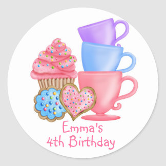 Wonderland  Birthday Tea Party Classic Round Sticker