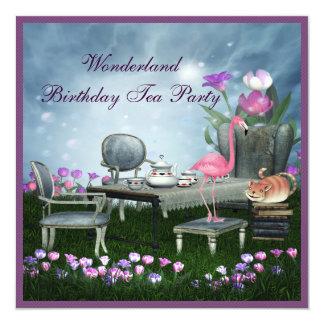 Wonderland Birthday Tea Party 5.25x5.25 Square Paper Invitation Card