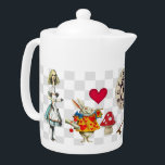 """Wonderland Collage Teapot<br><div class=""""desc"""">Medium white Porcelain teapot with vintage images of all things Wonderland. There's a backwards clock, a """"Drink Me"""" bottle, a brass skeleton key, Alice when she was 10 feet tall, the White Rabbit, a disappearing Cheshire Cat and more. See matching candy jar, espresso cup and pitcher. See the entire Wonderland...</div>"""